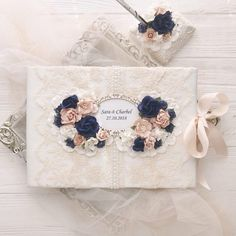 Navy Blue Guest Book Wedding Vintage Guest Book Idea Outdoor Wedding Guest Book and pen Lace Guest Book Personalised Bohemian Wedding Decor
