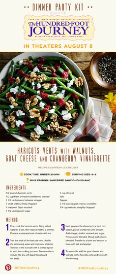 Haricots Verts with Walnuts, Goat Cheese, and Cranberry Vinaigrette Healthy Salad Recipes, Healthy Snacks, Cranberry Vinaigrette, Dinner And A Movie, Appetizer Salads, Going Vegetarian, Veggie Side Dishes, Dinner Is Served, Southern Recipes