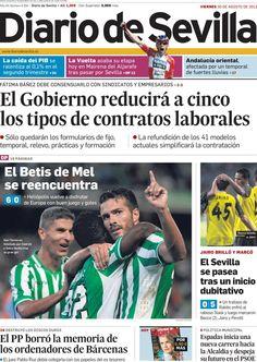 Los Titulares y Portadas de Noticias Destacadas Españolas del 30 de Agosto de 2013 del Diario de Sevilla ¿Que le pareció esta Portada de este Diario Español?