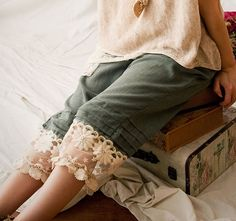 Mori Girl Lace 3/4 Pants Cotton Natural Blue by ButterflyOftheSun