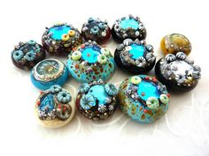 More Rockpool Cabochons by LushLampwork, via Flickr