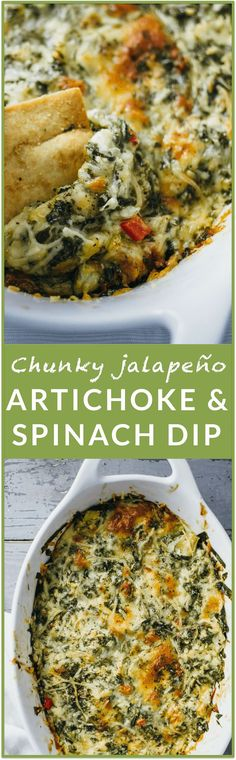 Chunky jalapeno artichoke and spinach dip - This is the BEST EVER artichoke and spinach dip. If you're looking for an easy, fuss-free version of this classic dip, you can stop right now. You've found it. This recipe is so simple and I love how there isn't any sour cream, cream cheese or yogurt needed! | http://savorytooth.com