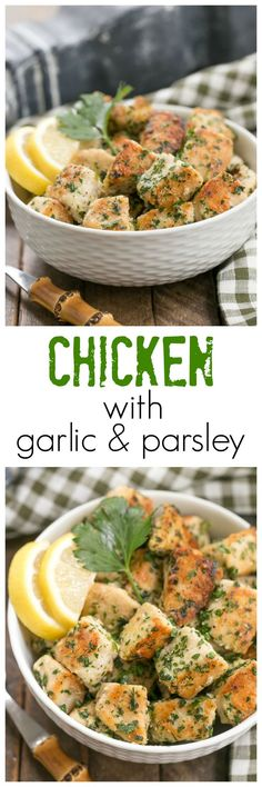Chicken with Garlic and Parsley | Easy, delicious and flavorful! @lizzydo