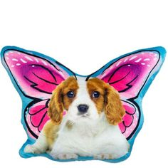 The soft Butterfly Puppy Pillow Plush is a sweet white and brown puppy, with pink, and purple black and white accented wings. Give a litter to the puppy-butterfly lover in your life! Toddler Costumes, Baby Costumes, Halloween Costume Shop, Halloween Costumes For Kids, Butterfly Pillow, Brown Puppies, Butterflies Flying, Kids Party Supplies, Small Baby