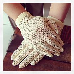 Vintage Mesh stretchy cremecolored gloves by THESALTYFAWN on Etsy, $30.00