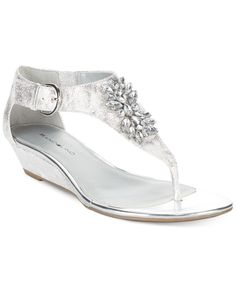 Bandolino Platana Jeweled Wedge Thong Sandals