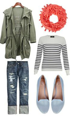 Spring and summer outfit - jean capris, navy stripes, army green jacket, coral scarf, and lace.