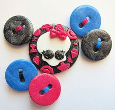 Monster High Dolls Logo Inspired Polymer Clay Buttons