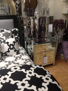 black & white bedding, mirrored nightstands, perfection by Z Gallerie of course