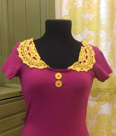 Crocheted collar, reused tablecloth