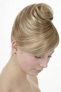 Highly collected wedding hairstyle with side bangs #bridesmaid #bridal #wedding…