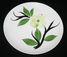Dixie Dogwood Joni Vintage 1940s Dinner Plate Handpainted Yellow Green Blossom | eBay