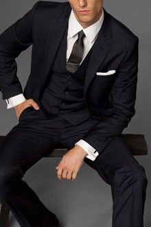 Navy Blue Pinstripe Three Piece Suit  -only Ben is having an orange tie! Already have the suit!