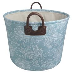 "I Really like this color ~Threshold 16"" EVA Basket 1-3C Printed Canvas with Piped Handles"