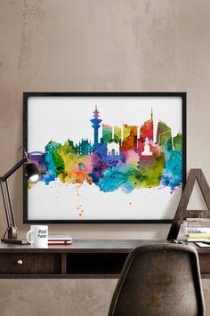Milan print Milan skyline Milan watercolor Milan by iPrintPoster