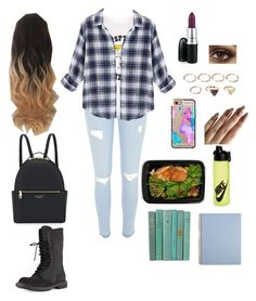 """""""Edgy School Outfit"""" by shagurl ❤ liked on Polyvore featuring River Island, Tsptr, MAC Cosmetics, Casetify, Forever 21, FoodSaver, NIKE, Henri Bendel and Rick Owens"""