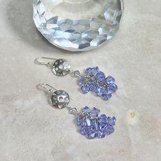 Long dangle earrings, purple earrings, dangle drop earrings, earring gift, beaded earrings, crystal earrings, handmade earrings, mom earring