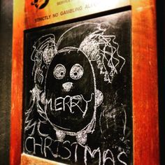 drawing our panda on our board! #cute #chalkboard #panda #christmas #pool #bar #esports #christmas