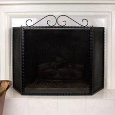 Ayers+Three+Panel+Fireplace+Screen+-+Black+Powder+Coat