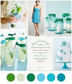 aqua & kelly green wedding