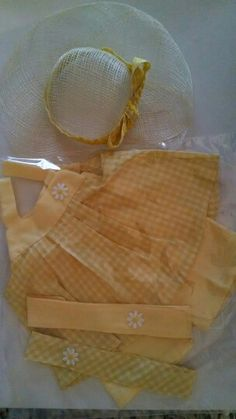 Sunny sirt & shorts with hat for AG doll in yellow gingham
