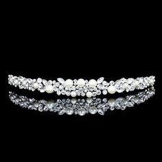Bridal Flower Rhinestone Crystal Pearl Prom Wedding Tiara Headband 71040 - BUY NOW ONLY 20.99