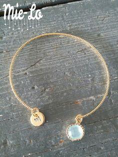 Jonc or doré gold filed personnalisé et pierre opale
