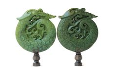 Asian Carved Stone Lamp Finial Hot Pink Dragon on a Shiny Chrome Base