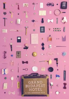An A2 original artwork for Wes Andersons The Grand Budapest Hotel, made by recreating unique objects from the film.
