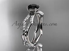 platinum diamond leaf and vine wedding ring,engagement ring with a Black Diamond center stone ADLR353