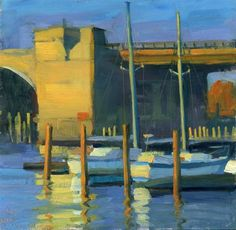 """Sailboats by the bridge"" - Original Fine Art for Sale - © Kathy Weber"