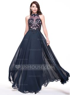 [US$ 169.99] A-Line/Princess High Neck Floor-Length Chiffon Evening Dress With Lace Beading Sequins (017065548)