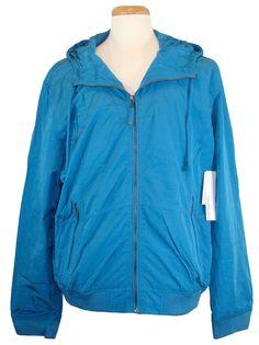 Calvin Klein Mens Jacket Hooded Zip Up Windbreaker Blue XXL 2XL NEW NWT $129.50 #CalvinKlein #Windbreaker