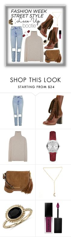 """NYFW Street Style Trend Report; Lace Up Booties"" by maggiesinthemoon ❤ liked on Polyvore featuring Topshop, Chloé, Jardin des Orangers, Burberry, MICHAEL Michael Kors, Blue Nile, Smashbox and Gucci"