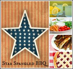 Star Spangled BBQ Party-Menu, recipes, party decor and free printable party plan.  Partyful.co