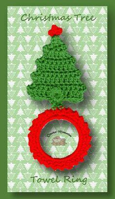 A free crochet pattern for a Christmas tree towel ring Christmas Towels, Crochet Christmas Trees, Christmas Tree Pattern, Christmas Crochet Patterns, Holiday Crochet, Crochet Home, Crochet Crafts, Easy Crochet, Crochet Projects