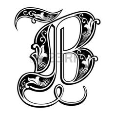 język angielski: Piękne dekoracje angielski alfabet, styl gotycki, litera B