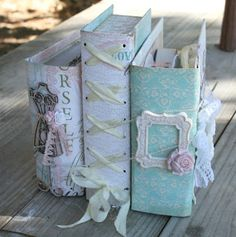 Handmade chipboard shabby chic book stack, craft room storage, mini album, TWO PART  TUTORIAL https://www.youtube.com/watch?v=lIRn0s2uCMU