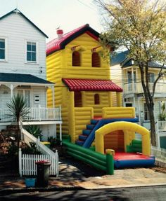 Bouncy House Beside Real House. Real estate prices in the neighborhood just skyrocketed.. inflatable, toys, Pranks, Epic, houses
