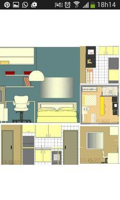 Projeto de interiores. Kitnet de 22,70m2 Quer conferir mais? Acompanha a gente no Instagram, Facebook e Blog.