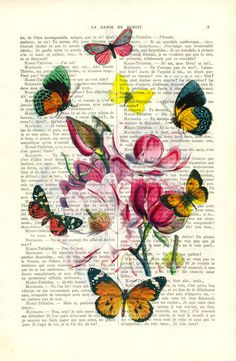 Flower print with butterflies vintage home decor by MadameMemento