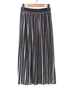 {4 Colors Free Size} Wild Elastic Waist Pleated Velvet Long Skirts