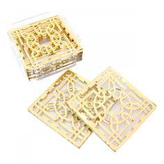 Yasmina: gold Arabesque coasters with base