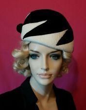Vintage hat Schiaparelli black white 1960