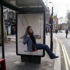 "Swing on a Bus Stop in London, part of Bruno Taylor's ""Playful Spaces"" art project"