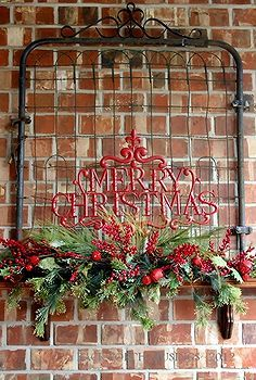 outdoor fireplace, christmas decorations, fireplaces mantels, seasonal holiday d cor, Back porch fireplace decorated for Christmas