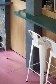 Aces of Space - Doi Doi I Hospitality Design & Branding / The creation of a visual Hospitality Design, Antwerp, Murals, Futuristic, Bar Stools, Color Pop, Crisp, Color Schemes, Flow