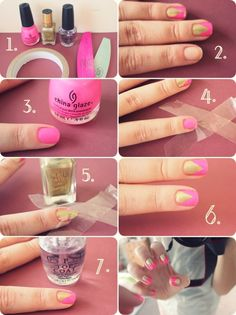 Step By Step Pink and Gold Mani