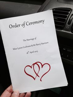 Order of ceremony. Fun and simple