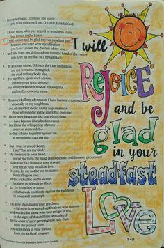 Psalm 31:7 Bible art journaling by @peggythibodeau www.peggyart.com
